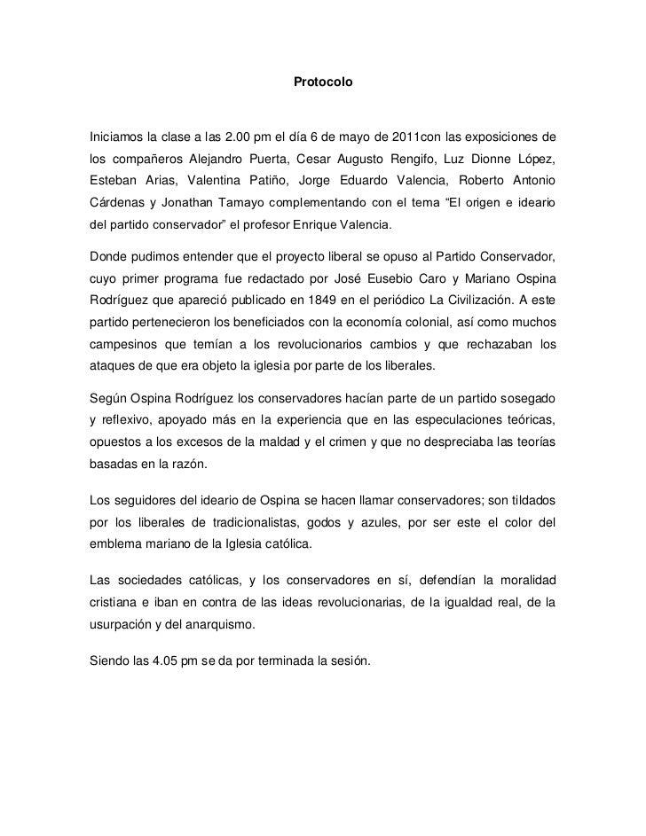 Protocolo<br />Iniciamos la clase a las 2.00 pm el día 6 de mayo de 2011con las exposiciones de los compañeros Alejandro P...