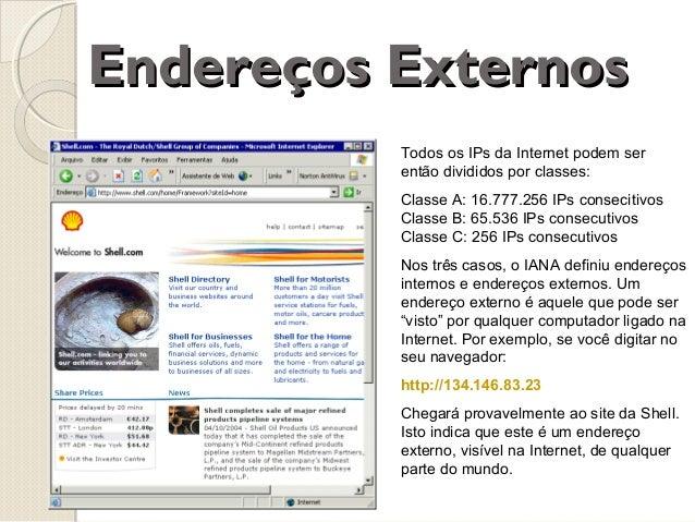 Endereços Externos Todos os IPs da Internet podem ser então divididos por classes: Classe A: 16.777.256 IPs consecitivos C...
