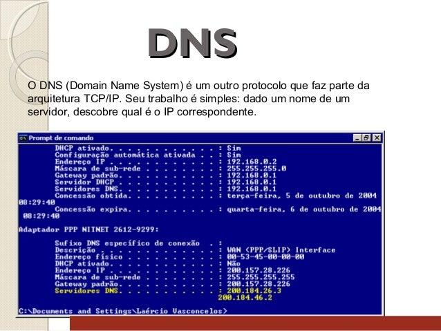 DNS O DNS (Domain Name System) é um outro protocolo que faz parte da arquitetura TCP/IP. Seu trabalho é simples: dado um n...