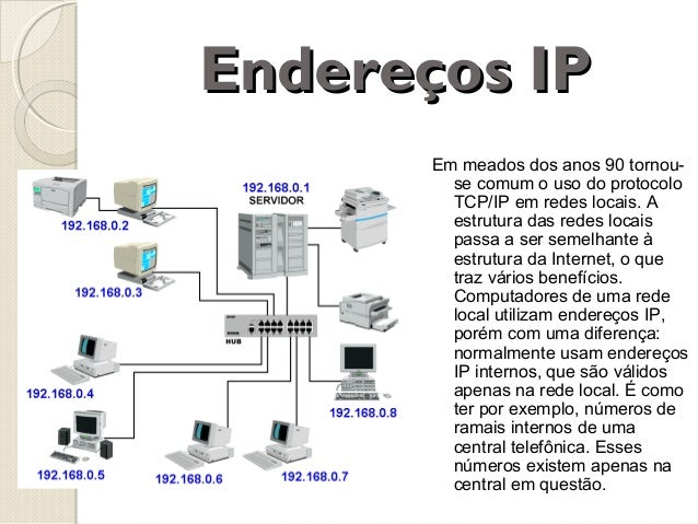 Endereços IP Em meados dos anos 90 tornouse comum o uso do protocolo TCP/IP em redes locais. A estrutura das redes locais ...