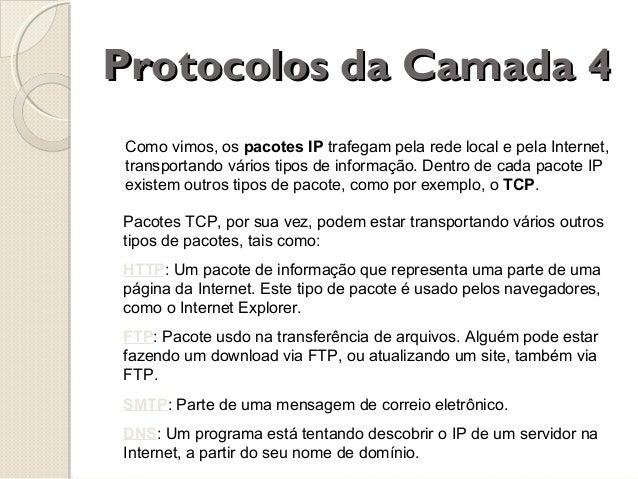 Protocolos da Camada 4 Como vimos, os pacotes IP trafegam pela rede local e pela Internet, transportando vários tipos de i...