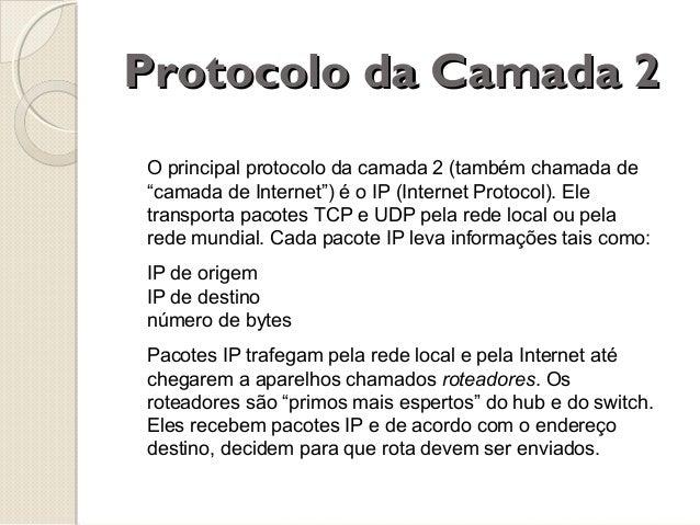 """Protocolo da Camada 2 O principal protocolo da camada 2 (também chamada de """"camada de Internet"""") é o IP (Internet Protocol..."""