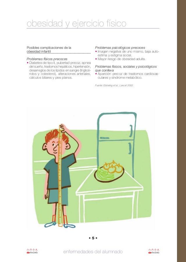 Posibles complicaciones de la obesidad infantil Problemas físicos precoces • Diabetes de tipo II, pubertad precoz, apnea d...