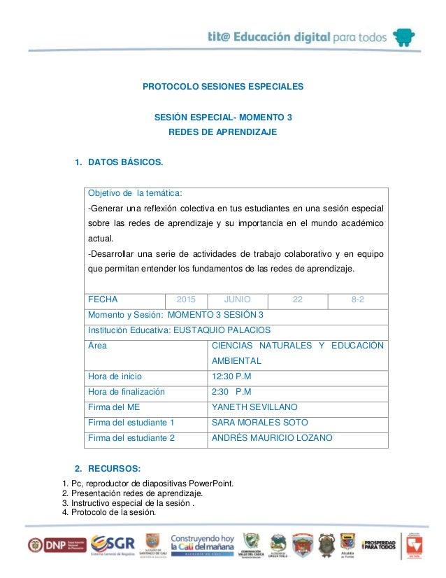 PROTOCOLO SESIONES ESPECIALES SESIÓN ESPECIAL- MOMENTO 3 REDES DE APRENDIZAJE 1. DATOS BÁSICOS. Objetivo de la temática: -...