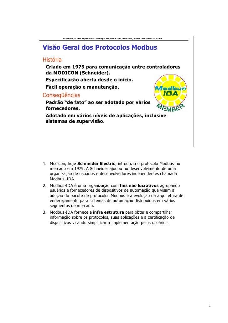 CEFET-RN / Curso Superior de Tecnologia em Automação Industrial / Redes Industriais – Aula 04     Visão Geral dos Protocol...