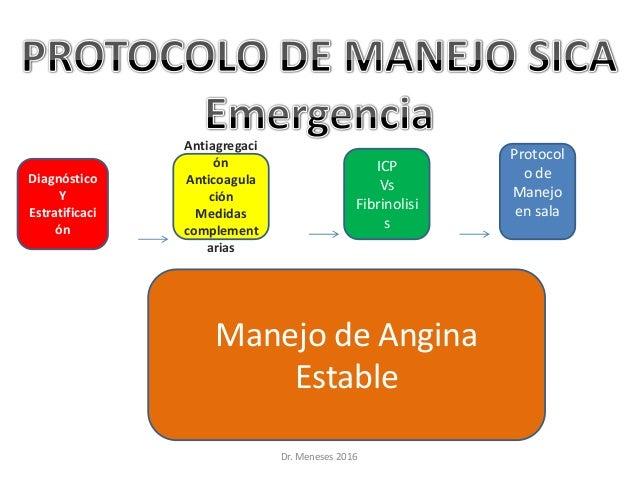 Dr. Meneses 2016 Protocol o de Manejo en sala Diagnóstico Y Estratificaci ón Antiagregaci ón Anticoagula ción Medidas comp...