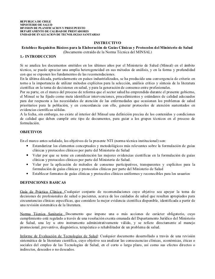 REPUBLICA DE CHILE MINISTERIO DE SALUD DIVISION DE PLANIFICACION Y PRESUPUESTO DEPARTAMENTO DE CALIDAD DE PRESTADORES UNID...