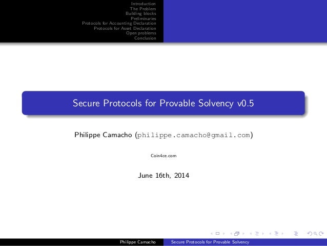 Introduction The Problem Building blocks Preliminaries Protocols for Accounting Declaration Protocols for Asset Declaratio...
