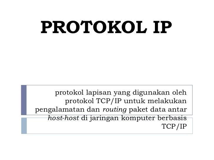 PROTOKOL IP     protokol lapisan yang digunakan oleh        protokol TCP/IP untuk melakukanpengalamatan dan routing paket ...