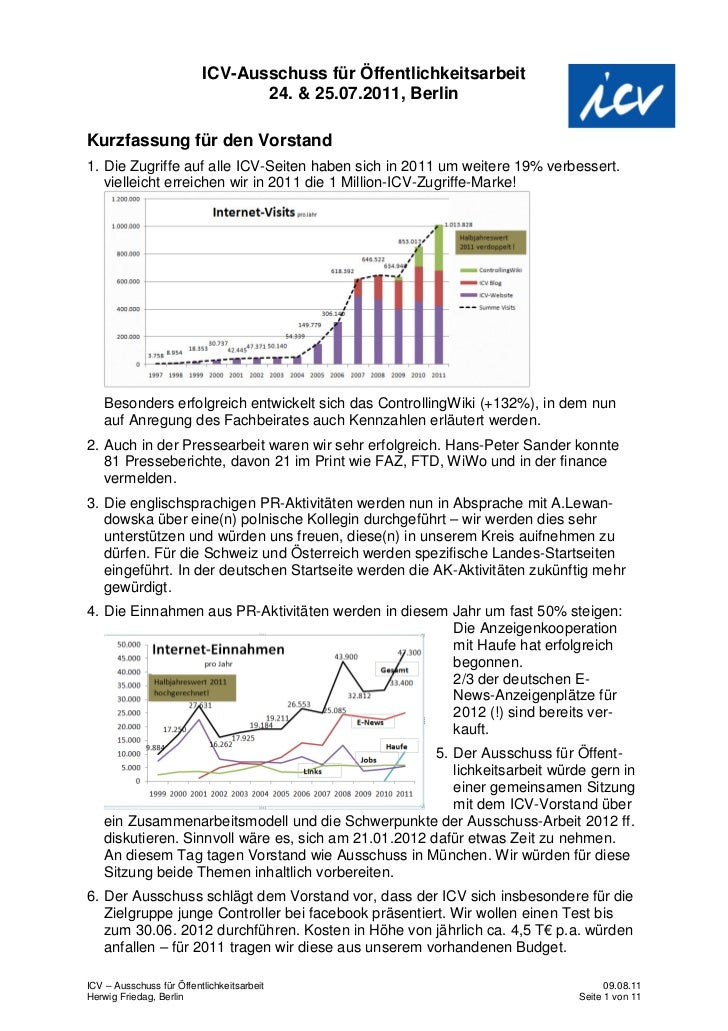 ICV-Ausschuss für Öffentlichkeitsarbeit                                 24. & 25.07.2011, BerlinKurzfassung für den Vorsta...