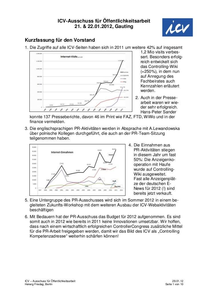 ICV-Ausschuss für Öffentlichkeitsarbeit                                21. & 22.01.2012, GautingKurzfassung für den Vorsta...
