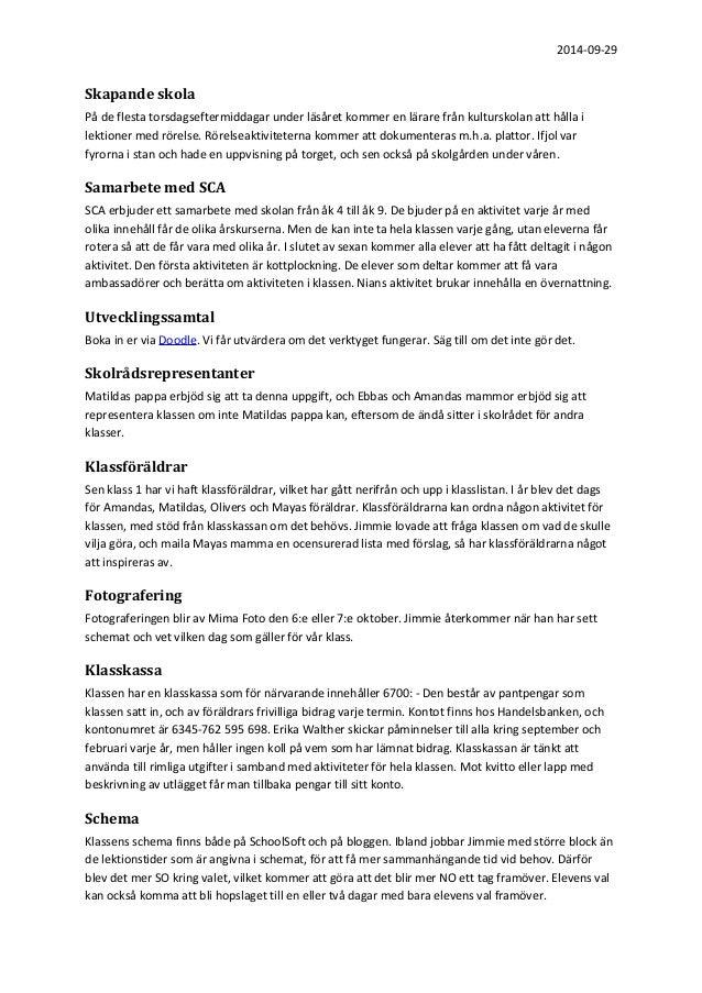 Protokoll från föräldramöte för klass 4 b Slide 3
