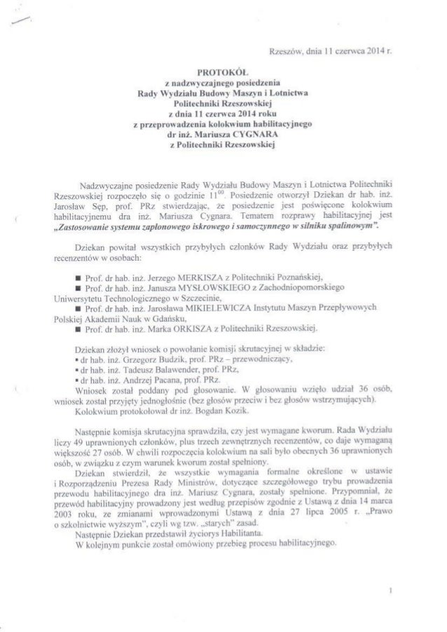 Protokol z kolokwium habilitacyjnego Mariusza Cygnara