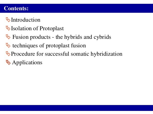 Contents:IntroductionIsolation of Protoplast Fusion products - the hybrids and cybrids techniques of protoplast fusion...