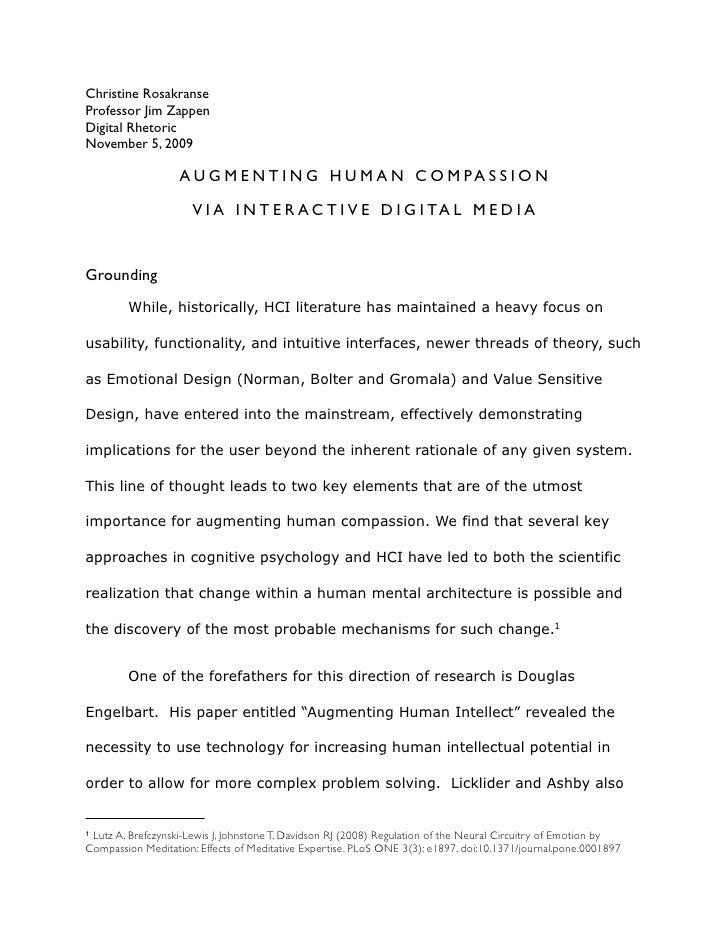 Christine Rosakranse Professor Jim Zappen Digital Rhetoric November 5, 2009                     A U G M E N T I N G H U M ...
