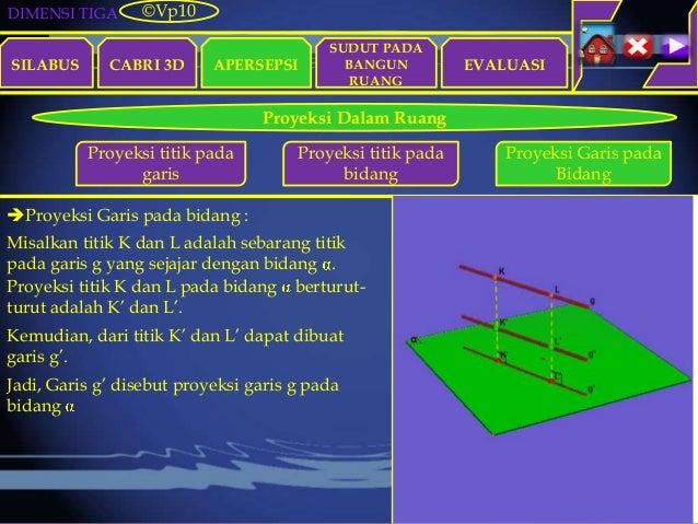 DIMENSI TIGA SILABUS CABRI 3D APERSEPSI EVALUASI ©Vp10 Proyeksi Dalam Ruang Misalkan titik K dan L adalah sebarang titik p...