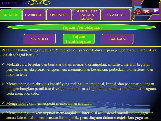 DIMENSI TIGA SILABUS CABRI 3D APERSEPSI EVALUASI ©Vp10 Tujuan Pembelajaran SK & KD Tujuan Pembelajaran Indikator Pada Kuri...