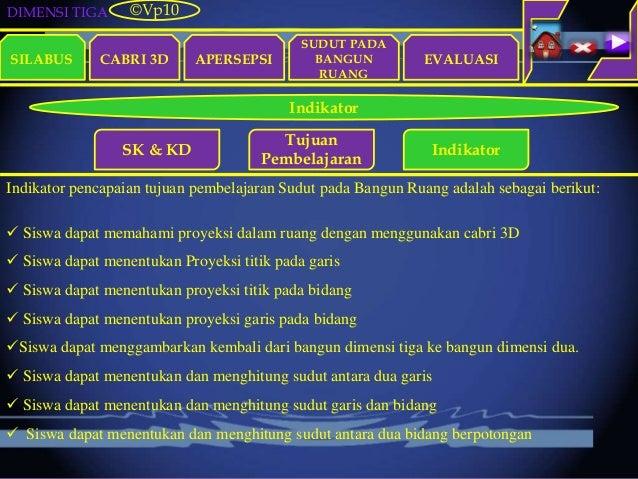 DIMENSI TIGA SILABUS CABRI 3D APERSEPSI EVALUASI ©Vp10 Indikator SK & KD Tujuan Pembelajaran Indikator Indikator pencapaia...
