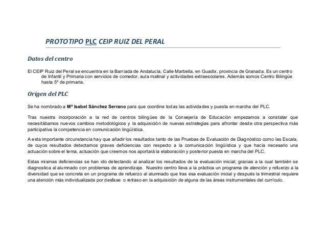 PROTOTIPO PLC CEIP RUIZ DEL PERAL Datos del centro El CEIP Ruiz del Peral se encuentra en la Barriada de Andalucía, Calle ...