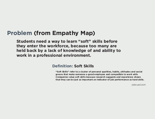 "Problem (from Empathy Map) Students need a way to learn ""soft"" skills before they enter the workforce, because too many ar..."