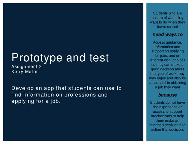 Develop an app that students can use to find information on professions and applying for a job. Prototype and test Assignm...