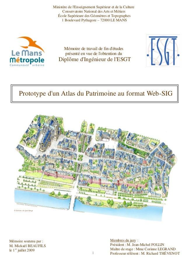 1 Prototype d'un Atlas du Patrimoine au format Web-SIG © Éditions du Quai Rouge Mémoire de travail de fin d'études présent...