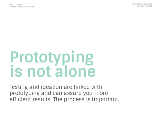 Prototyping is not alone Testing and ideation are linked with prototyping and can assure you more efficient results. The pr...