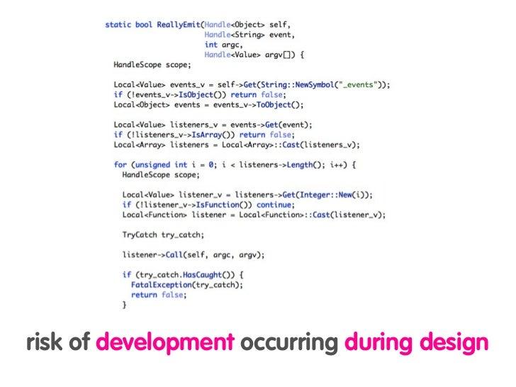 risk of development occurring during design