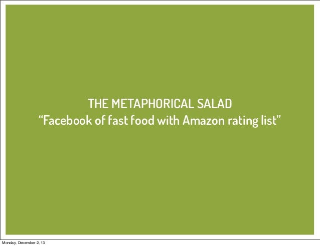"""THE METAPHORICAL SALAD """"Facebook of fast food with Amazon rating list""""  Monday, December 2, 13"""