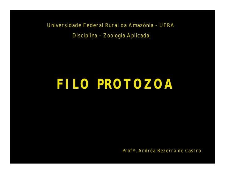 Universidade Federal Rural da Amazônia - UFRA        Disciplina – Zoologia Aplicada   FILO PROTOZOA                       ...