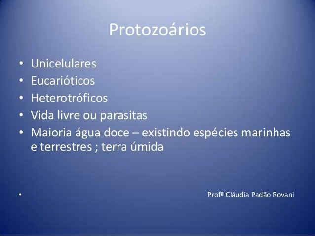 Protozoários• Unicelulares• Eucarióticos• Heterotróficos• Vida livre ou parasitas• Maioria água doce – existindo espécies ...