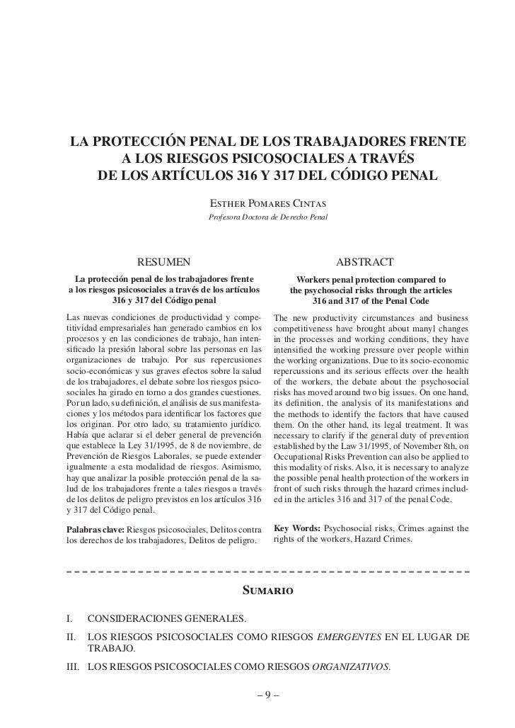 la protección penal de los traBajadores frente        a los riesgos psicosociales a través     de los artÍculos 316 y 317 ...