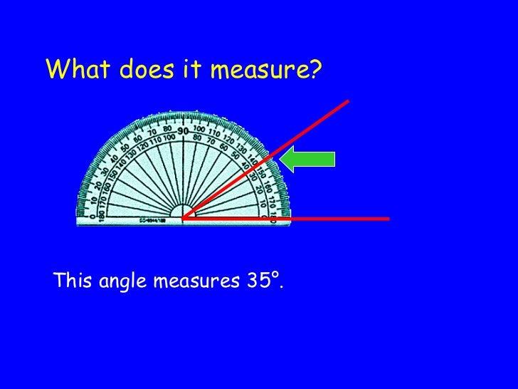 What does it measure? <ul><li>This angle measures 35 °. </li></ul>