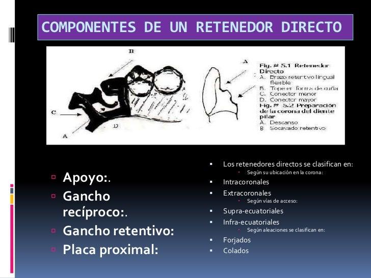 COMPONENTES DE UN RETENEDOR DIRECTO<br />Los retenedores directos se clasifican en:<br />Según su ubicación en la corona:<...