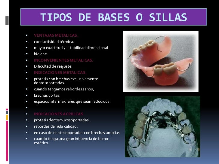 Placa proximal:</li></li></ul><li>BASES O SILLAS<br />metálicas o acrílicas. <br />parte de la prótesis que descansa sobre...