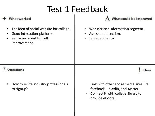 Test 1 Feedback • The idea of social website for college. • Good interaction platform. • Self assessment for self improvem...