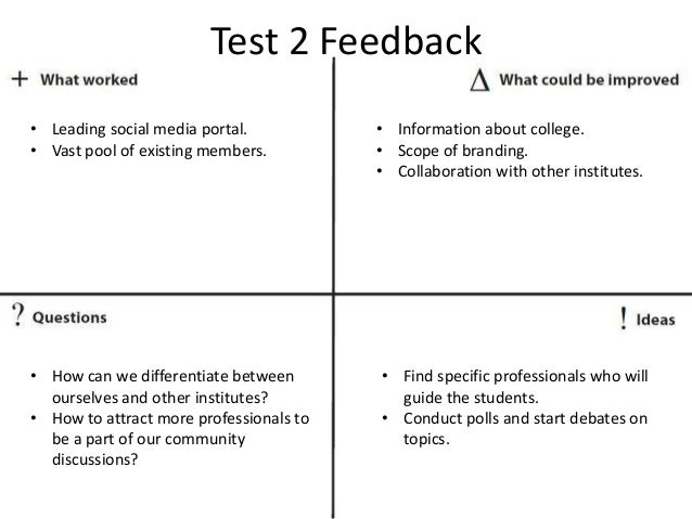 Test 2 Feedback • Leading social media portal. • Vast pool of existing members. • Information about college. • Scope of br...