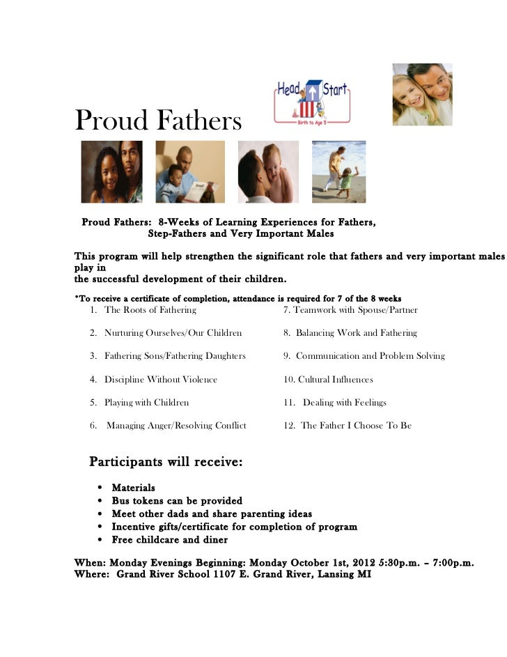 Proud Fathers Proud Fathers: 8-Weeks of Learning Experiences for Fathers,              Step-Fathers and Very Important Mal...