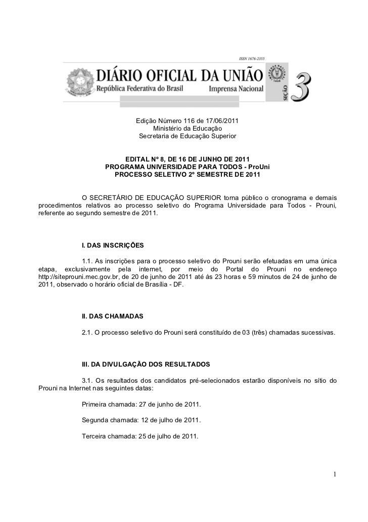 Edição Número 116 de 17/06/2011                                     Ministério da Educação                                ...