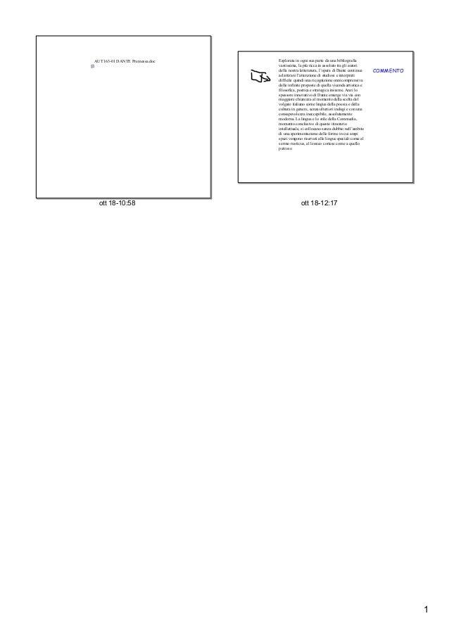 AUT16301DANTEPremessa.doc  ott1810:58  Esploratainognisuapartedaunabibliografia vastissima,lapiúriccaina...