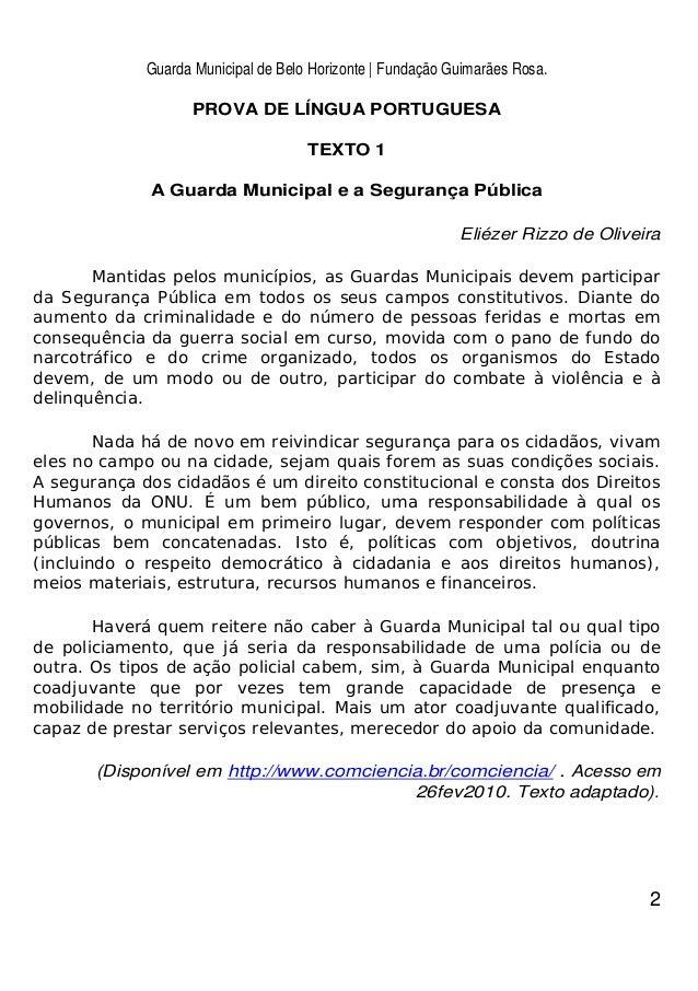 Guarda Municipal de Belo Horizonte | Fundação Guimarães Rosa. 2 PROVA DE LÍNGUA PORTUGUESA TEXTO 1 A Guarda Municipal e a ...