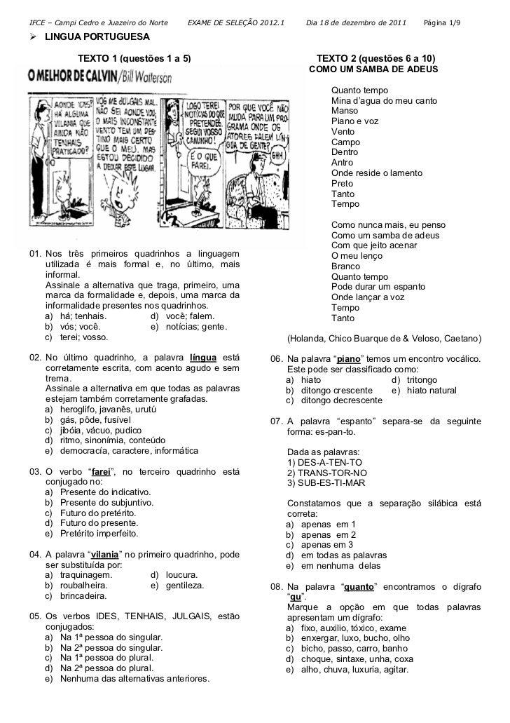 IFCE – Campi Cedro e Juazeiro do Norte   EXAME DE SELEÇÃO 2012.1       Dia 18 de dezembro de 2011   Página 1/9    LINGUA P...