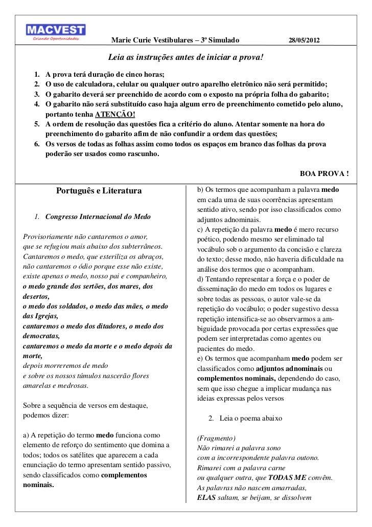 Marie Curie Vestibulares – 3º Simulado                28/05/2012                           Leia as instruções antes de ini...