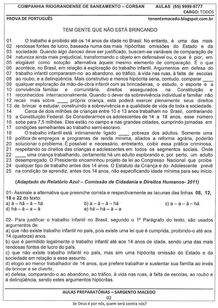COMPANHIA RIOGRANDENSE DE SANEAMENTO - CORSAN                                AULAS (55) 9999-9777                         ...