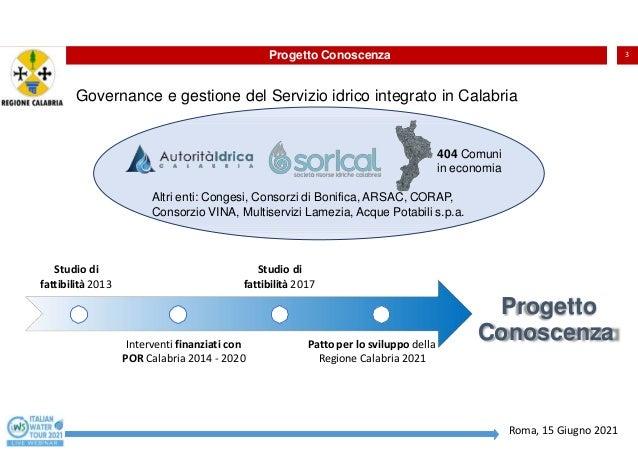 Regione Calabria - Progetto Conoscenza: l'ottimizzazione dei processi negli acquedotti di Catanzaro, Crotone e Vibo Valentia Slide 3