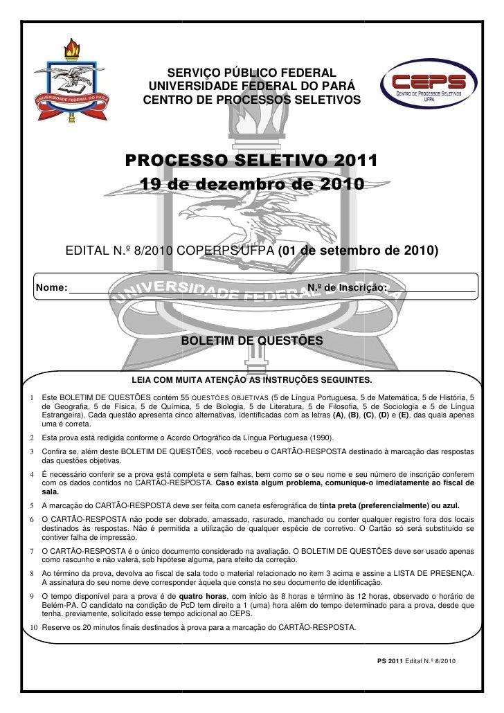 SERVIÇO PÚBLICO FEDERAL                                  UNIVERSIDADE FEDERAL DO PARÁ                                 CENT...