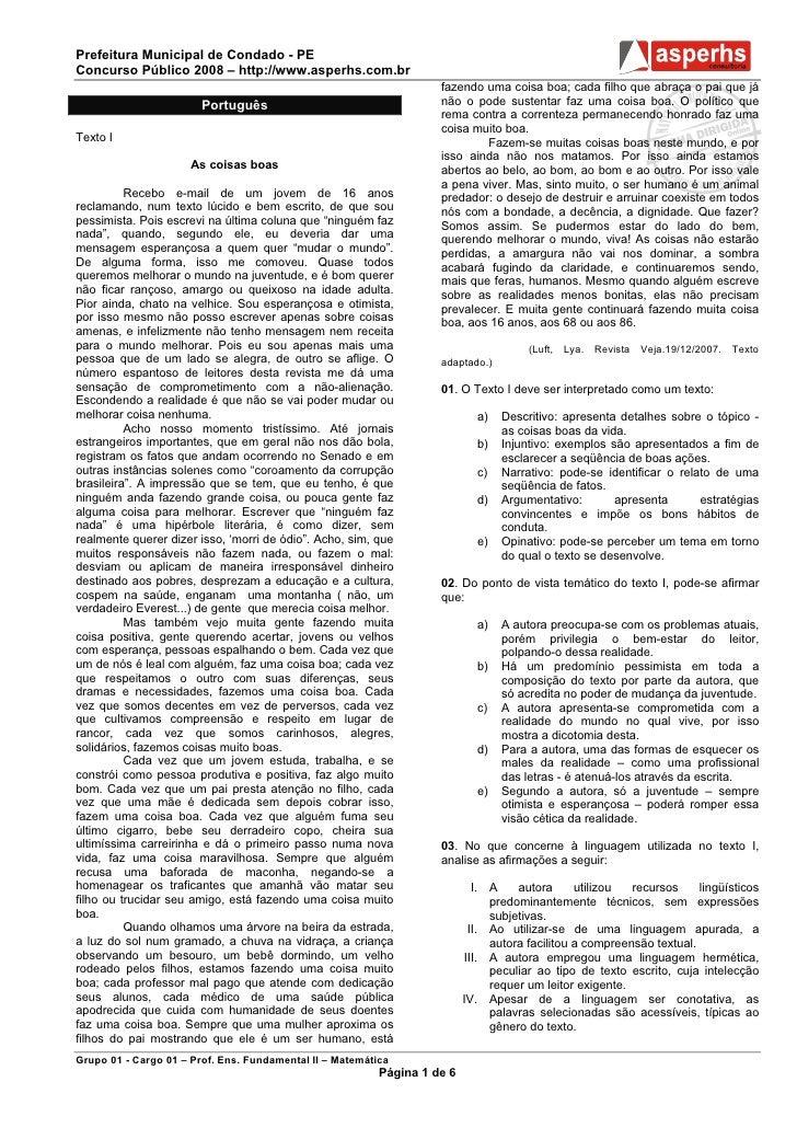 Prefeitura Municipal de Condado - PEConcurso Público 2008 – http://www.asperhs.com.br                                     ...