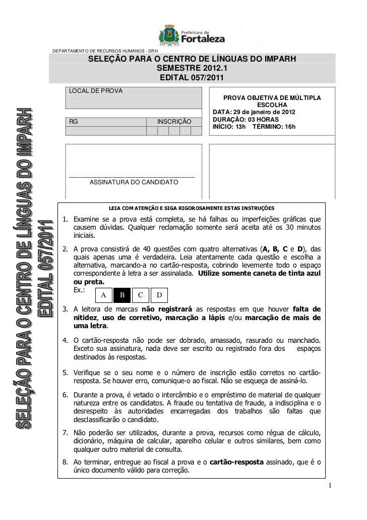 DEPARTAMENTO DE RECURSOS HUMANOS - DRH            SELEÇÃO PARA O CENTRO DE LÍNGUAS DO IMPARH                         SEMES...