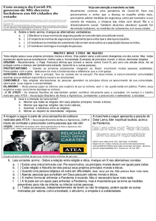 Prova 7ano ensino religioso 2b pet 2 Slide 2