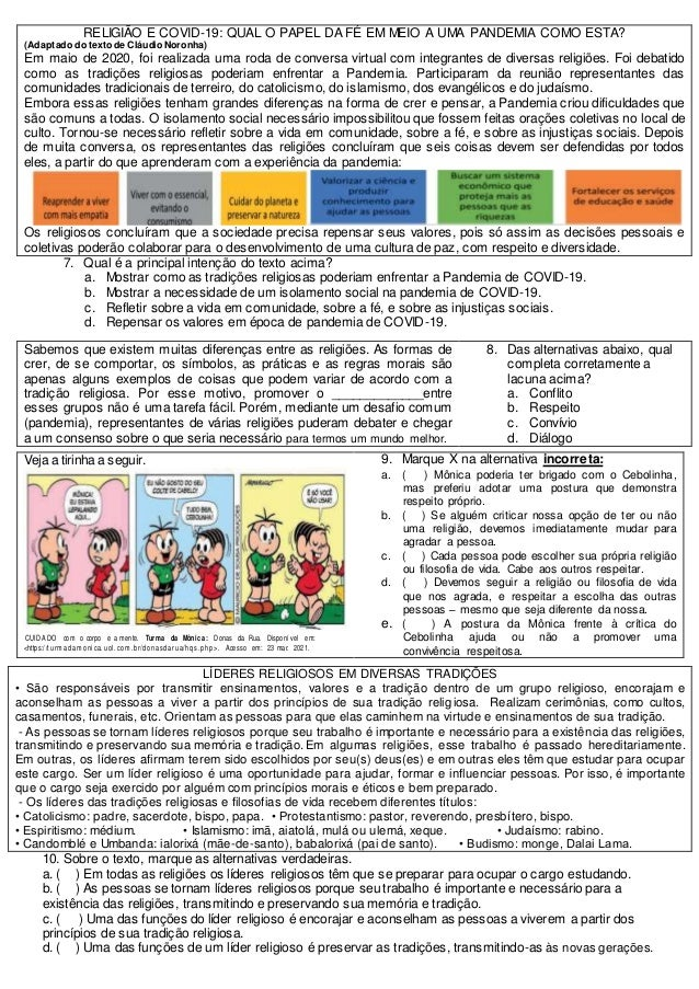 Prova 7ano ensino religioso 2b pet 2 Slide 3
